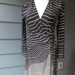 BCBGMAXAZRIA wrap black white Adele dress